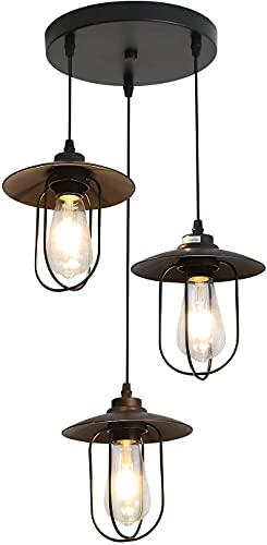 Lámpara de Techo Industrial Vintage, Estilo Edison 3 Luces Lámpara Colgante con 3 jaulas de metal, Iluminación Colgante de Interior E27 para Comedor Salon Restaurante Bar Café, Color: Negro