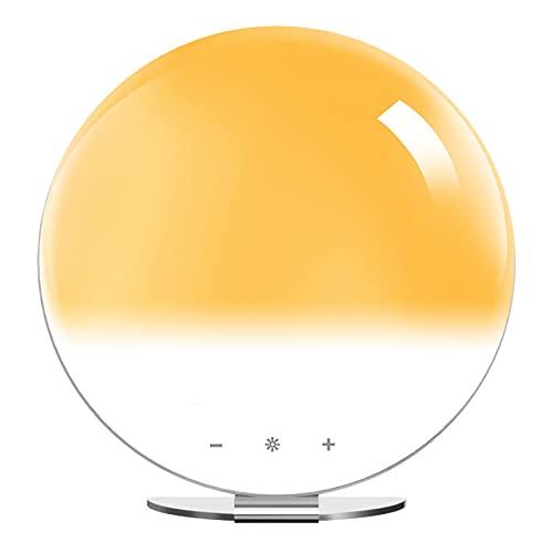 Luz de Nocturna Led,Lámpara de Mesita de Noche Control Tactil,Regulable USB Recargable,Luz de Despertador simulada del Amanecer