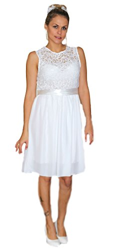 Unbekannt Brautkleid Spitze kurz Hochzeitskleid M L XL XXL Braut Kleid Standesamt Weiß (S/36, Weiß)