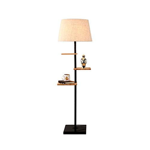 QTDH Moderne massief houten nachtlampje met salontafel, klassiek, minimalistisch hoogstaande staande lamp voor woonkamer, slaapkamer, kantoor
