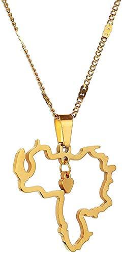 Yiffshunl Collar Collar de Acero Inoxidable de Moda con Colgante de Tarjeta de Venezuela Collar con Signo de corazón con Collar de joyería de Tarjeta de Venezuela