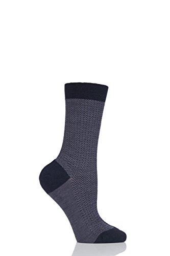 Damen 1 Paar Pantherella Hatty Herringbone Merino Wolle Socken Marine 36-40