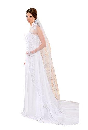 Nina Brautmoden Braut Schleier aus Tuell und Spitzenrand - 170 cm lang - S102 (Ivory/Champagner)