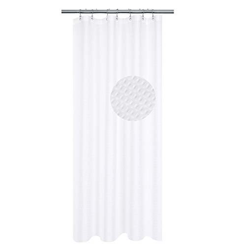 Small Stall Shower Curtain Fabric 42 inch Wide, Waffle Weave, Hotel Collection, 230 GSM Heavyweight, Water Repellent, Machine Washable, White Pique Pattern Decorative Bathroom Curtain