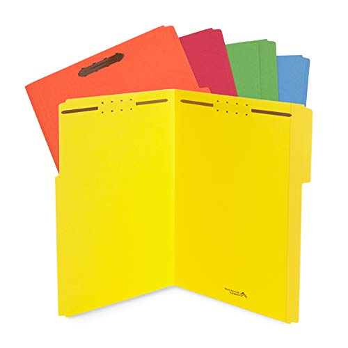 Blue Summit Supplies Legal File Folders with Fasteners, Colored Folders with Fasteners, 1/3 Cut Reinforced Tabs, Durable 2 Prongs, Designed to Organize Standard Medical or Law Files, 50 Pack