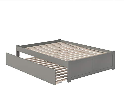 Atlantic Furniture Concord Bed with Footboard and Twin Extra Long Trundle, Queen, Grey