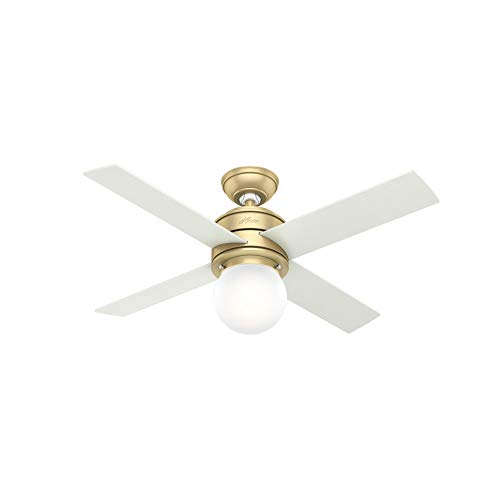 Hunter 52313 Hepburn Indoor Ceiling Fan with LED Light and Wall Control, 44, Modern Brass