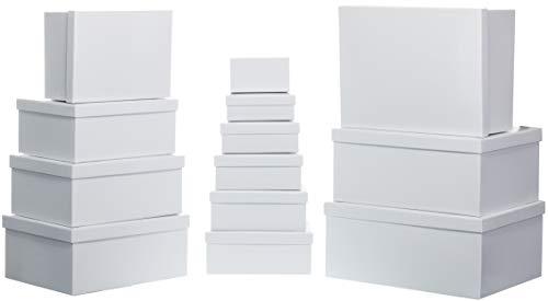 Brandsseller Geschenkbox Aufbewahrungsbox Kartenkarton mit Deckel - Stabiler Karton - 13er Set in absteigender Größe - Weiß