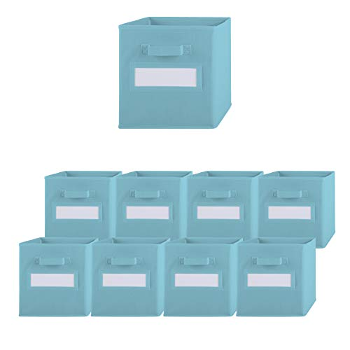 Pomatree Storage Bins - 9 Pack - Durable Storage Cubes with Label Window   2 Reinforced Handles   Fabric Cube Baskets for Organizing Closet, Clothes and Toys   Foldable Shelves Organizer (Light Blue)