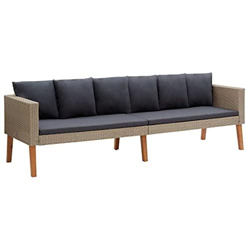 vidaXL Gartensofa 3-Sitzer mit Auflagen Sofa Lounge Gartenmöbel Sitzgruppe Couch Gartenset Sitzgruppe Gartenbank Poly Rattan Beige