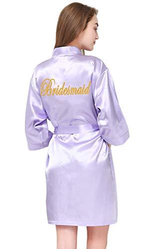 GoldOath Damen Kimono Brautschmuck Hochzeit Robe DIY Gold Glitter Brautjungfer Geschenke - Violett - X-Large