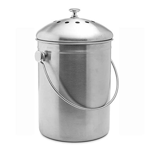 Check Out This Stainless Steel Compost Bin,Compost Caddy Perfect For Indoor Countertop Kitchen Recyc...