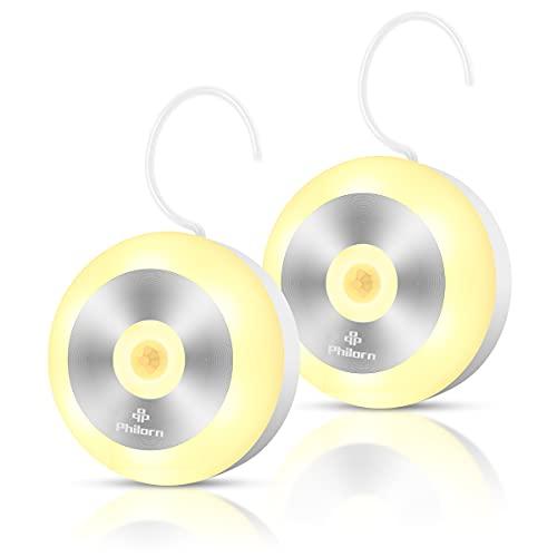 Philorn 2 piezas de luz con sensor de movimiento, luz de escalera, luces de noche LED, recargable por USB, luz de armario con gancho integrado y juego de imanes (Cálido)