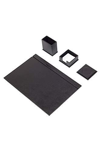 Calme-D - Juego de 4 protectores de escritorio de 49 cm x 34 cm, de piel sintética, en 10 colores a elegir, color: negro