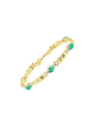 Impresionante pulsera de esmeralda y diamante con nudo de amor y tenis, bañada en oro amarillo y...