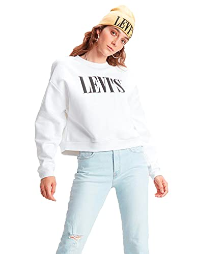 Levi's Graphic Diana Crew Sweat-Shirt, White (90's Serif White+ 0000), M Femme