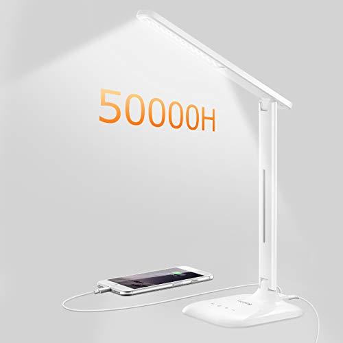 Schreibtischlampe TOPELEK 10W LED Tischlampe mit USB-Anschluss für Aufladung des Smartphones, 5 Farbtemperaturen & 5 Helligkeitsstufen, Touch-Steuerung für Lesen, Arbeiten, Malen, Schlafen, Weiß