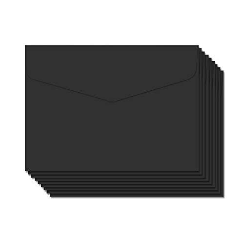 BLUGUL 50 Piezas Mini Sobres, Sobres Pequeños 115x82mm, para Oficinal, Bodas de Tarjetas de Regalo, Artículos de Fiesta de Cumpleaños, Negro
