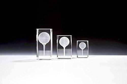 Henecka Golf-Pokal, Glastrophäe 3D-Lasermotiv Golf, Kristallglas, mit Blauer Geschenkbox, Größe 8 cm