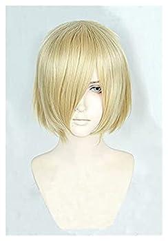 AnimeFiG Anime Yuri!!! On Ice Wigs Yuri Plisetsky Wig Yurio Short Blonde Heat Resistant Cosplay Costume Wig + Wig Cap