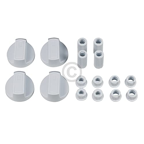Juego de perillas giratorias para cocina (4 mordazas universales con adaptadores, interruptor, mango giratorio, 38 mm de diámetro, 16 piezas, color blanco para horno y horno)
