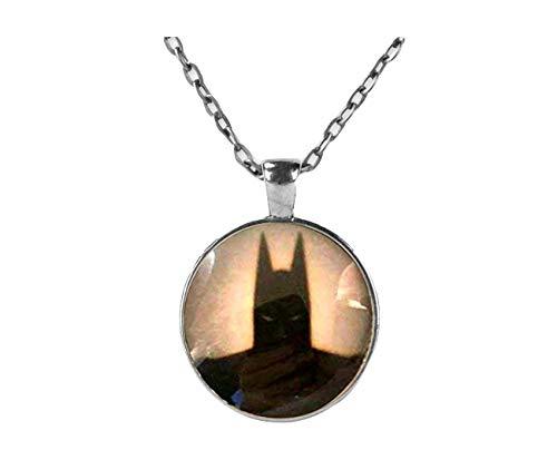 Batman Silhouette Marvel Halskette Anhänger, Dome Glas Schmuck, Pure handgefertigt