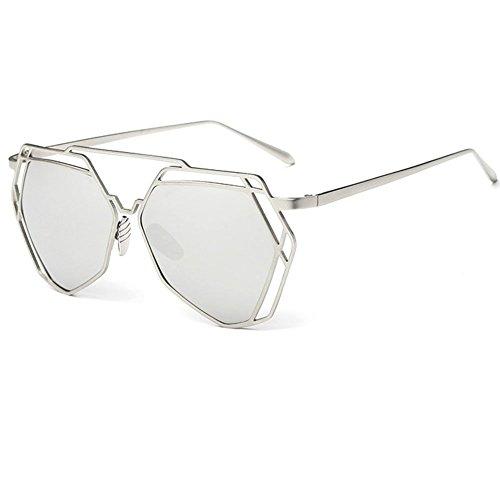 Linyuan 2227Fashion Metal marco unisex retro de las mujeres gafas de sol–UV400 plata