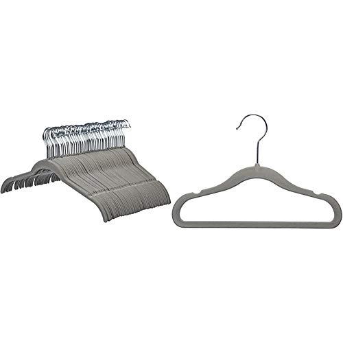 Amazon Basics Kleiderbügel für Hemd / Kleid, mit Samt überzogen 50er-Pack, Grau & Kinderkleiderbügel mit Samtbezug, 50er-Pack, Grau