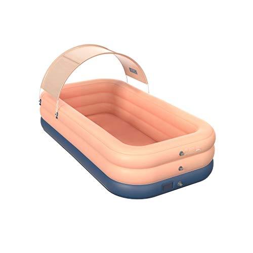 Außen großer aufblasbarer Pool mit Überdachung for Kinder & Erwachsene, orange aufblasbaren Swimmingpool for Hinterhof/Garten/Terrasse Sommer-Wasser-Spiel-Party (Größe : 260×160×68cm)