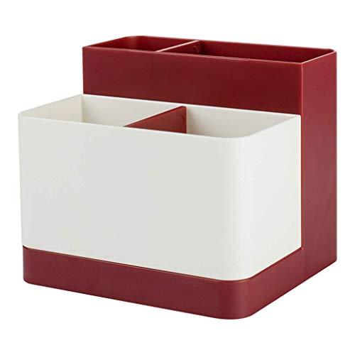 ZTMN Boîte de Rangement en Plastique Simple en Plastique, Bureau, Rouge à lèvres, Bijoux, Produits de Soins de la Peau, boîte de Rangement de Stockage 12,5 * 12,5 * 10,5 cm (Couleur: Rouge)