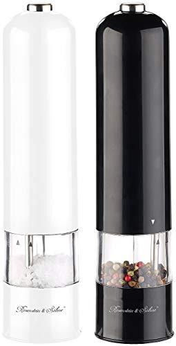 Rosenstein & Söhne Elektrischer Salzstreuer: 2er-Set elektr. Salz- & Pfeffermühle, Keramik-Mahlwerk, Licht, 22,5 cm (Gewürzmühle elektrisch)