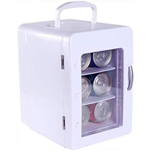 FEE-ZC reiskoeler voor auto, mini-bar, stil op het bureau, draagbaar, mini-koelkast, verwarming en koeling, camping, Cola Beer White, 4 l, 12 V / 220 V