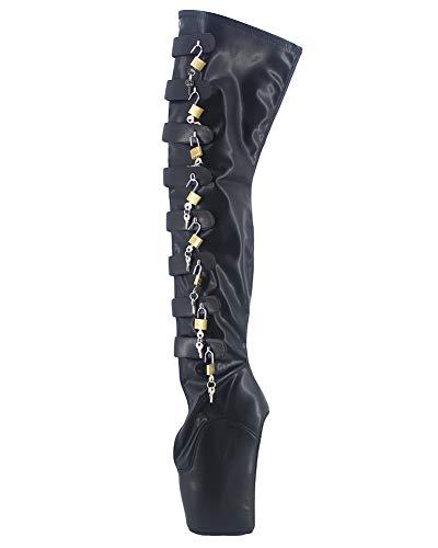 WONDERHEEL Damen Wedges Padlocks Ballett Stiefel Schwarz 44 EU