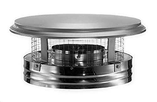"""Simpson Duravent 8DP-VC DuraPlus Collection Class-A Chimney Pipe Triple-Wall Chimney Cap With Spark Arrestor, Stainless Steel, Removable Screws, 8"""" Inner Diameter, 14"""" Outer Diameter, 8"""" Height"""