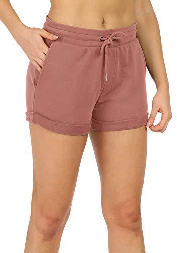 icyzone Damen Sweat Shorts Sport Kurze Hose Laufshorts Jogginghose mit Taschen (L, Dusty Pink)