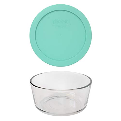 Pyrex (1) 7201 4 Cup Glass Dish & (1) 7201-PC 4 Cup Sea Glass Green Lid