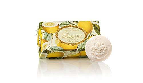 Limonenseife rund 6 stk a 50 g, handgemachte italienische Seife aus Fiorentino, mit dekorativer Prägung