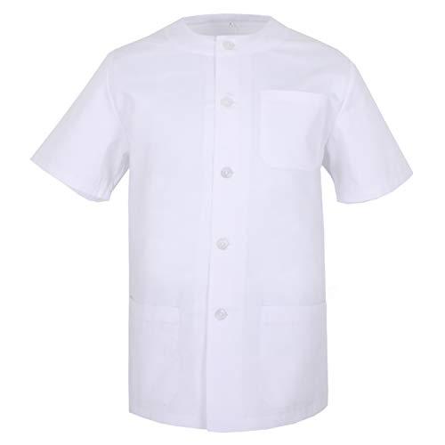 MISEMIYA - Medizinische Uniformen Unisex Top Krankenschwester Krankenhaus Berufskleidung - Large, Medizinisches Hemd 832-2 Weiß