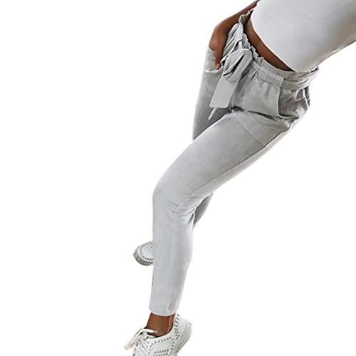 HX fashion Broeken Dames Elegante Mode Broeken Comfortabele Maten Lente Herfst Krijtstrepen Zakken Aan De Voorkant Bandage Strik Elastische Taille Met Trekkoord Effen Kleuren Slim Fit Lange Broek Met