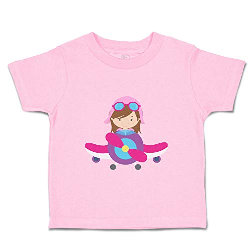 Custom Baby & Toddler T-Shirt Pilot Girl Airplane Cotton Boy & Girl Clothes Funny Graphic Tee Soft Pink Design Only 3T
