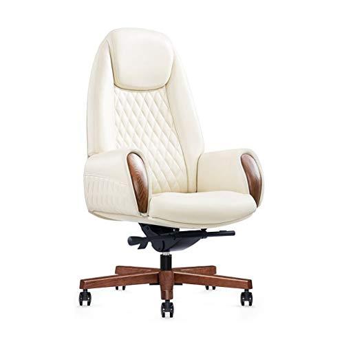 Sillas Presidente giratoria Jefe Cuero Elevador Ejecutivo reclinable computadora Oficina en casa (Color : Blanco, Size : 80 * 80 * 133.5cm)