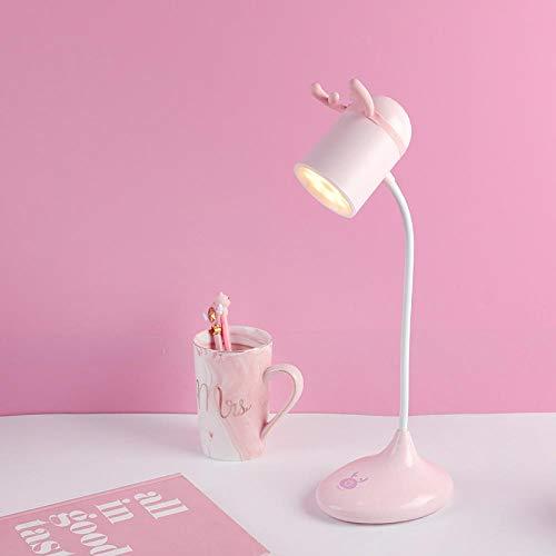 Luz De Noche Mini Cuernos Lindos Lámpara De Mesita De Noche Led Recargable Para Niños Libro De Estudio Lámpara De Mesa Atenuador Táctil Lámpara De Brillo De Atenuación Rosa Claro