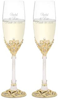 Things Remembered Personalized Gold and Pearl Enamel Crown Flute Set with Engraving Included
