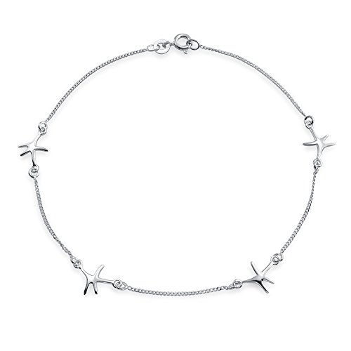 Nautical 4 Multi Station Beach Starfish Sea Life Anklet Ankle Bracelet For Women 925 Sterling Silver 9 Inch
