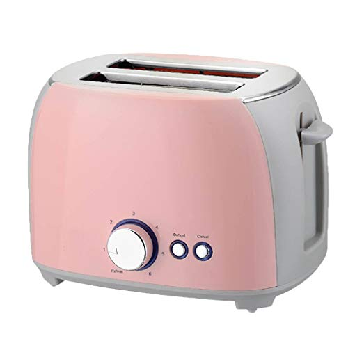 ATRISE Toast Toaster 2-Slice Compact Plastic Extra Wide Slot Stainless Steel Toaster Keep Warm Defrost Slot Toaster (Pink)
