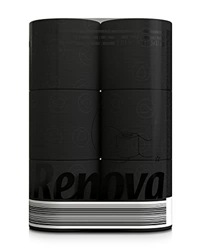 Renova Ultra Soft 3-Ply Toilet Paper Rolls, Black