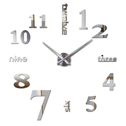6Wcveuebuc Moderno reloj de pared 3D con espejo adhesivo de gran número, para decoración del hogar, sala de estar, dormitorio, oficina