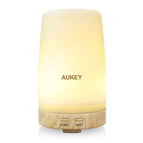 Aroma Diffuser compatible with AUKEY, 100 ML Essential Oil Humidifier with Two Color LED Light Change Ultrasonic Aromatherapy Cool Mist and Auto Timer for Bedroom, Baby Room, Spa and Office