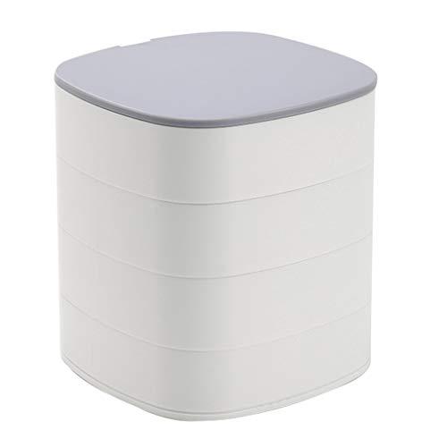 Caja de joyería giratoria de 4 capas, anillo, collares, organizador, caja, almacenamiento de exhibición con espejo
