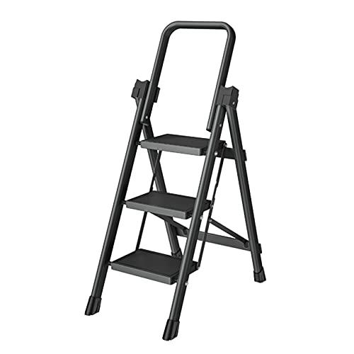 ZXXL Taburete Escalera 3 Escaleras de Paso para la Cocina Casera, Taburete Ligero Plegable con Pasamanos y Pie Antideslizante, Escaleras de Mano para Personas Mayores/Adultos (Color : Black) ✅